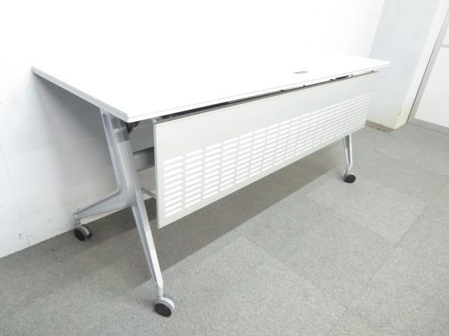 【シャープなデザイン!】■ワークスタックテーブル 幕板パネル付 ■W1500×D600mm【コンセント付】