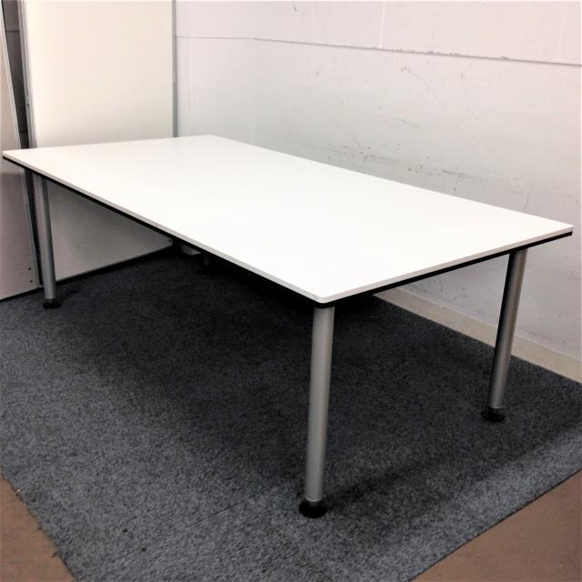 【高級会議テーブル】オカムラ RATIOⅡ 4本脚タイプ ホワイト 天板