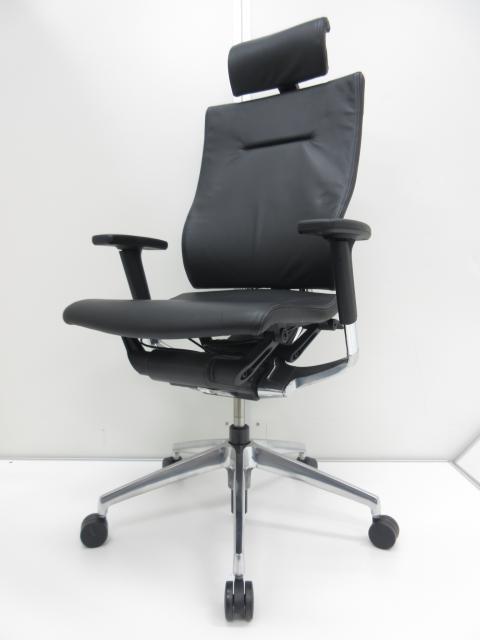 【座面位置自動調整機能付き!!】座り心地抜群のハイバック肘付タイプです!!【全革張りの高性能チェア!!】