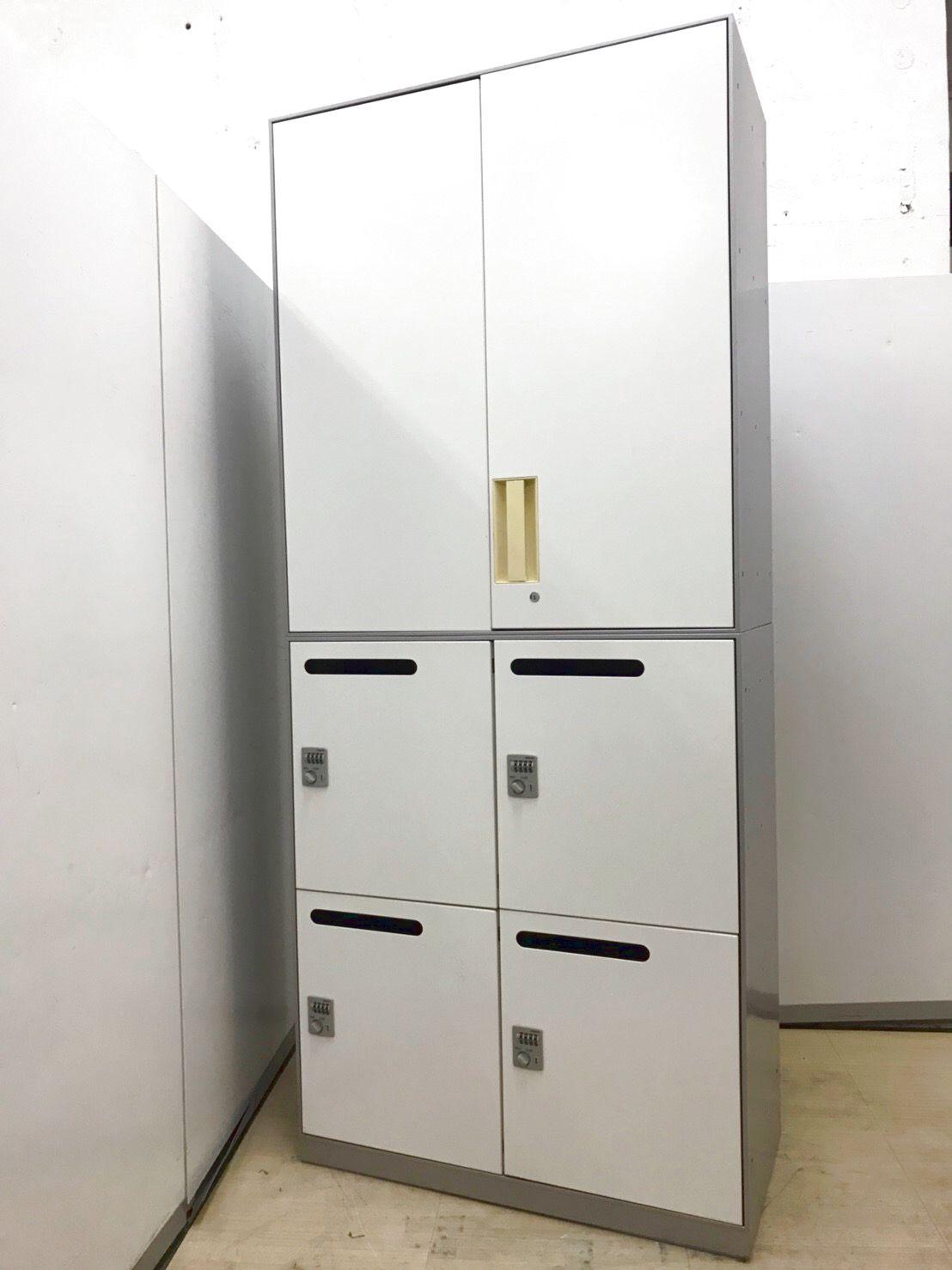 珍しい書庫セットの入荷です!上両開き書庫+下メールロッカーの組み合わせの書庫です!