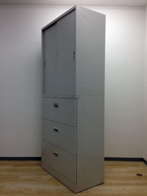 【引き違い+3段ラテラル、定番の組み合わせ!】オカムラ製・42型書庫セット【起業や拠点開設には是非!】