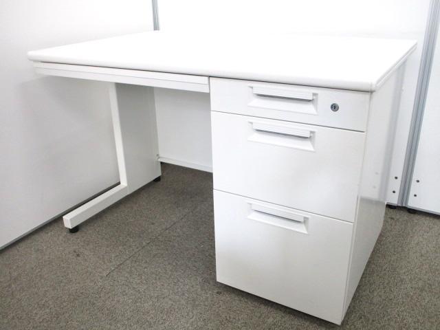 【シンプルなホワイト片袖机!】幅1100mmのコンパクトサイズ!起業や増員の際にはこちら!【配線カバー欠品】