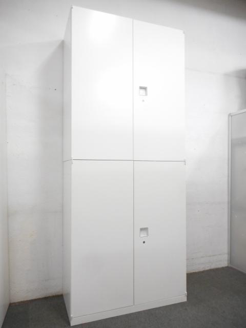 【壁面にスッキリ収まるホワイトカラー!】■オカムラ レクトラインシリーズ 上下両開き書庫セット
