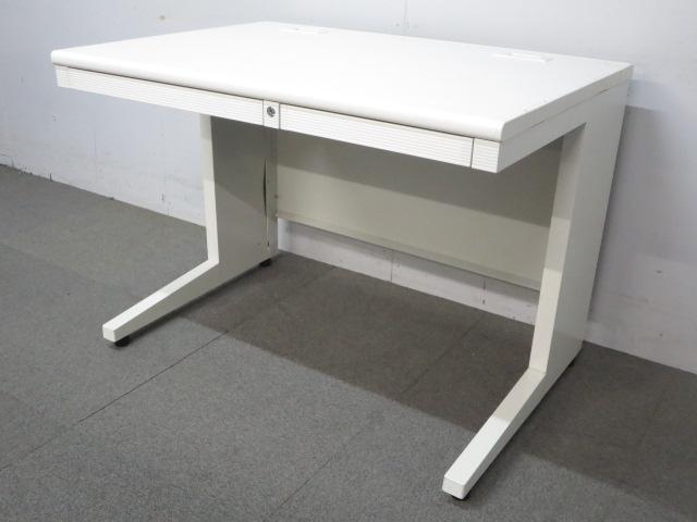 【明るいオフィスにおすすめ!】■プラス製 平デスク(W1000mm)ホワイト