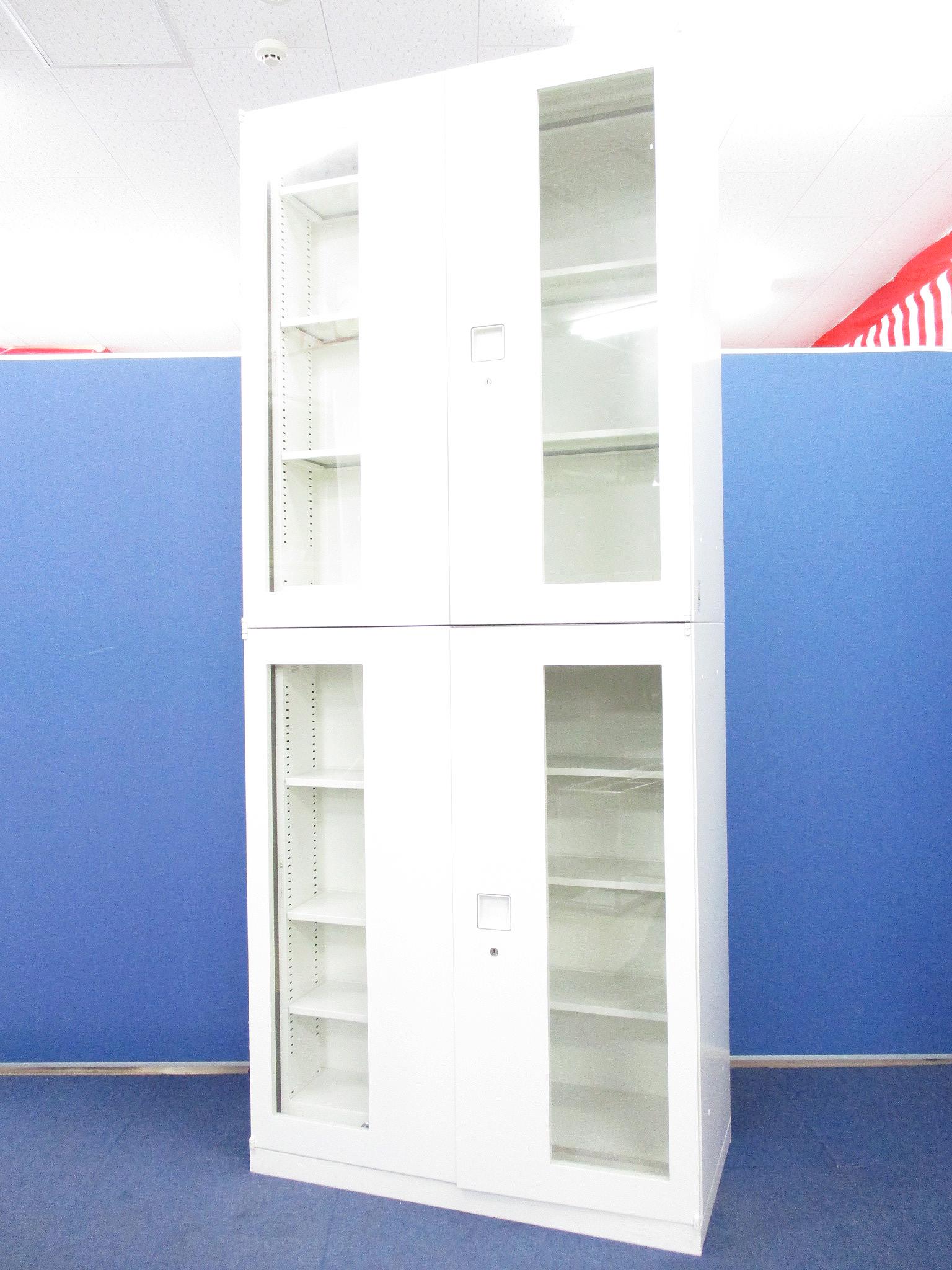 【大人気即売れ御免!】OKAMURA レクトラインシリーズ ガラス引違書庫セット