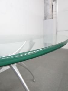 ■リンクテーブル フロストガラス(15mm厚)■デザインテーブル 丸型|ADAL(アダル) LINK(リンク)【デザイナー:蒲原 潤斉(Junji Kamahara) 】(中古)