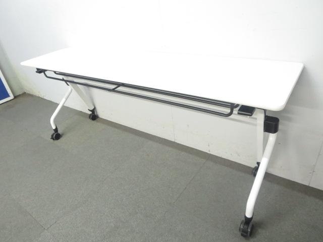 【多人数会議・セミナー用としてオススメ!】■平行スタックテーブル W1800×D450mm ホワイト