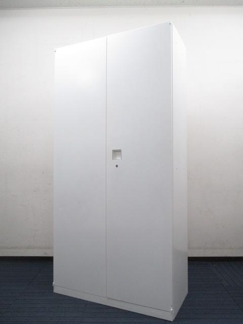 【大収納量タイプ】■両開き書庫(ハイキャビネット) ■レクトラインシリーズ ■美しいホワイト