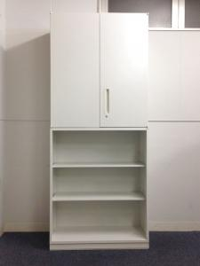 【3セット限定!】オープン+両開き書庫のレアな組み合わせ!基本機能を追求した収納家具(中古)