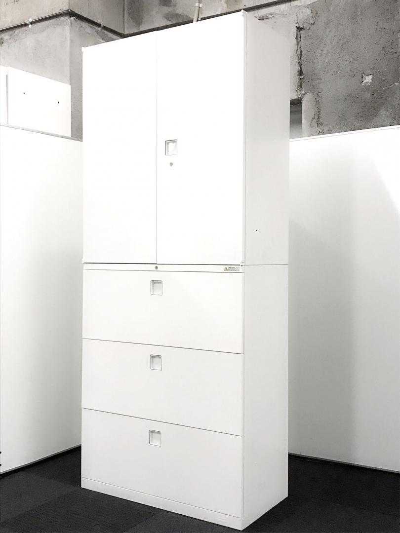 【上下セット】オカムラ製中古書庫 壁面収納にオススメ ホワイト色 収納力重視
