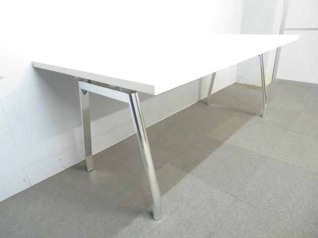 【ハイグレードなデザイン!】■会議用テーブル W1800×D900mm ホワイト ポリッシュ脚