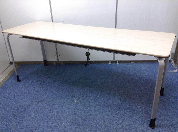 【コンセント LAN付 ナチュラル色】1800mmのミーティングテーブル