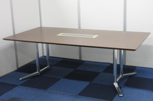 【幅2100mm!!4人用テーブル!!】深いブラウンのミーティングテーブル!!【会議室用としてオススメ!!】【β】