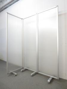 【光を通す半透明タイプ!】■3連衝立パーティション ■空間の間仕切りにオススメ!|衝立パネル ポリカーボネート(中古)