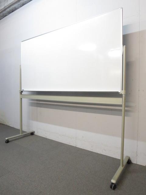 ■オカムラ製 脚付ホワイトボード(片面タイプ)■板面サイズ:W1800×H900mm ■50mm角暗線入り