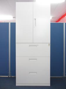 [フラット性を追求し、シャープでスリムなデザイン!!]コクヨ製 エディア 両開き+3段ラテラル 書庫セット■オールホワイトで明るく、溜まった書類もこの1台で!![EDIA](中古)
