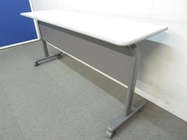 ■サイドスタックテーブル(幕板付き)■W1500×D450mm ニューグレー