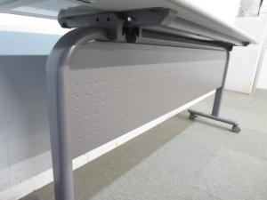 ■サイドスタックテーブル(幕板付き)■W1500×D450mm ニューグレー|その他シリーズ(中古)