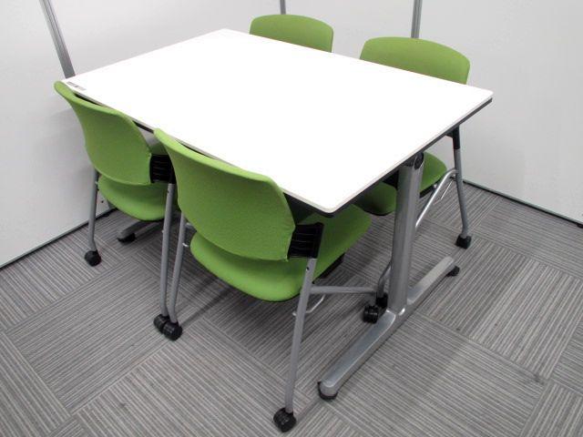 【テーブルチェアセット商品】オカムラ製ミーテイングテーブルMT-A518Tとプラス タルト ミーティングチェアのお買い得セット商品。ホワイトとグリーンカラーで明るいミーティングスペースを造れます!