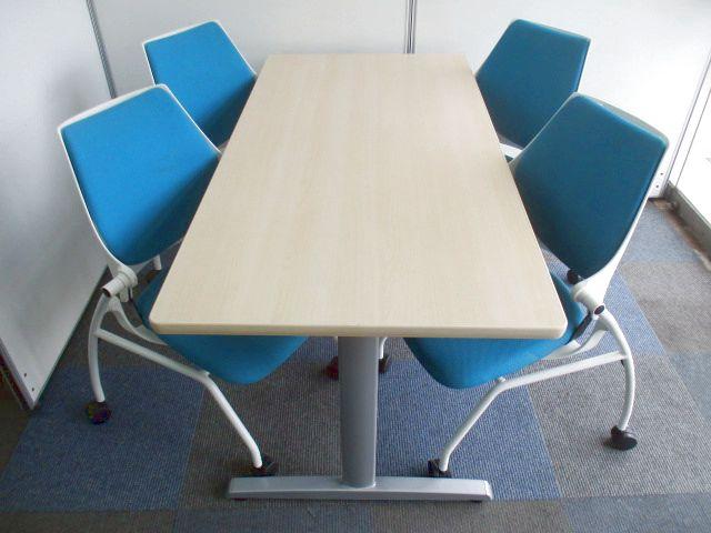 【お得なミーティングセット】幅1500mmテーブルと2016年製造チェア【オフィスを明るくする】