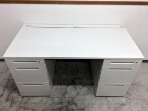 【セット商品】ホワイト×ブラックの組合せ【両袖机+チェア】|CZR(中古)