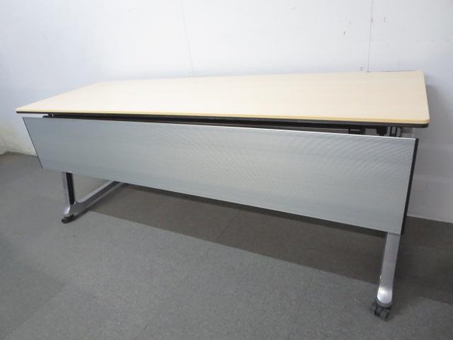 【お値下げ品!】■オカムラ製 サイドスタックテーブル ■W1800×D600mm 木目柄ナチュラルカラー【J】