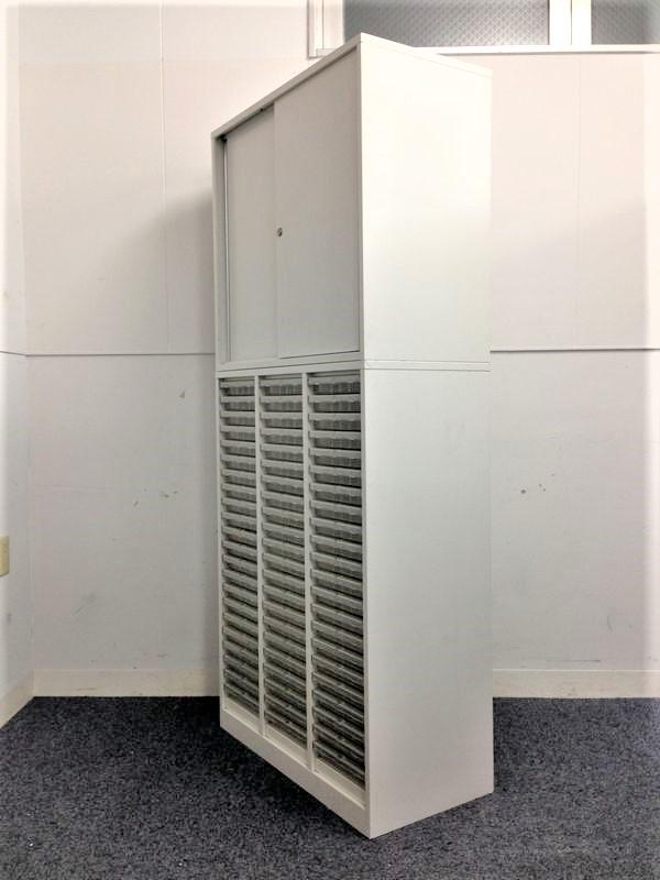 省スペースの味方!W800 D400 トレーキャビネット+引き戸書庫 人気のホワイト色