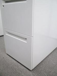 【明るいホワイト!】オカムラ製ホワイト|プロユニットシリーズ|A4サイズ2段分+小物入れ付[prounit](中古)