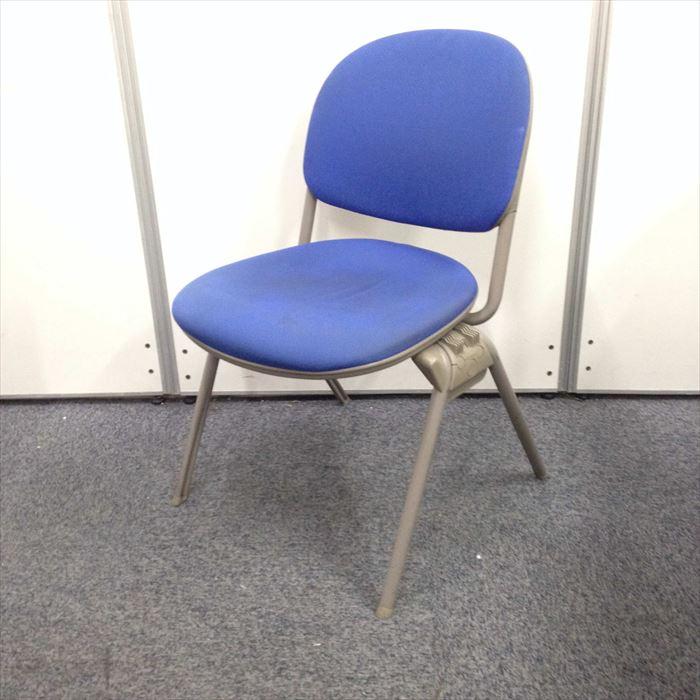 【オフィス定番のブルー】オカムラ製 スタッキングチェア