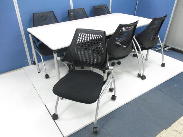 【テーブル+チェアのセット!】これで6名様がご利用頂けるミーティングスペースの完成!!【ホワイト&ブラック】