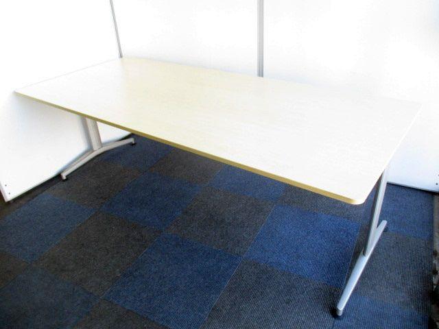 【6名~8名のご利用がオススメです!】幅2100×奥行き900mmの会議用テーブル【ナチュラル色でオフィスが華やかに!】