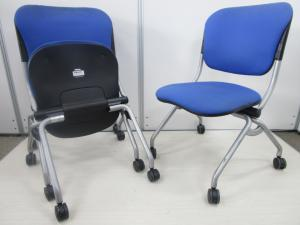 【3脚セット】オフィス定番カラーのブルーのミーティングチェア
