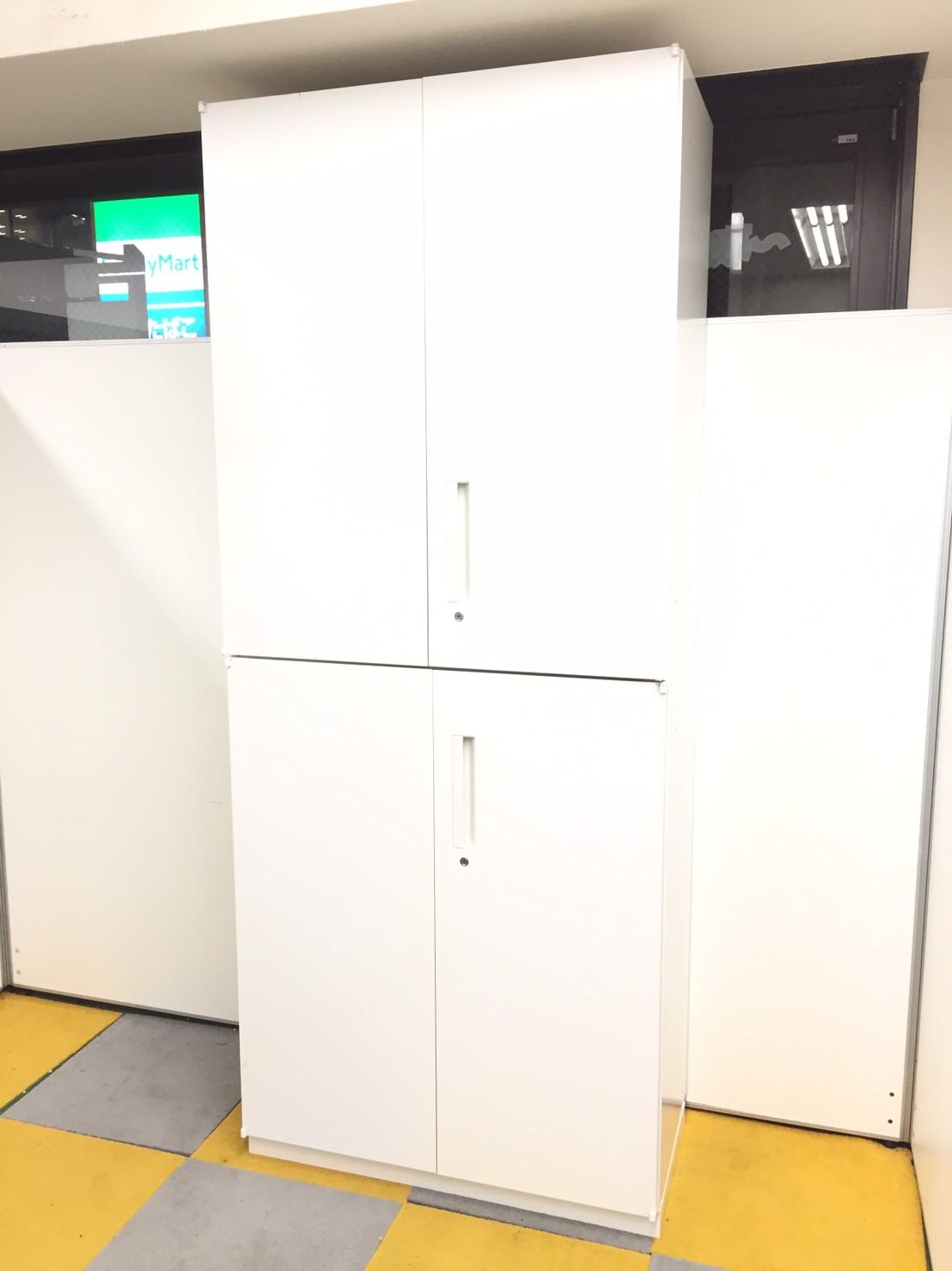【オフィスキャビネット】HSシリーズの美品の両開き書庫セット!ホワイトカラー!【状態良好】