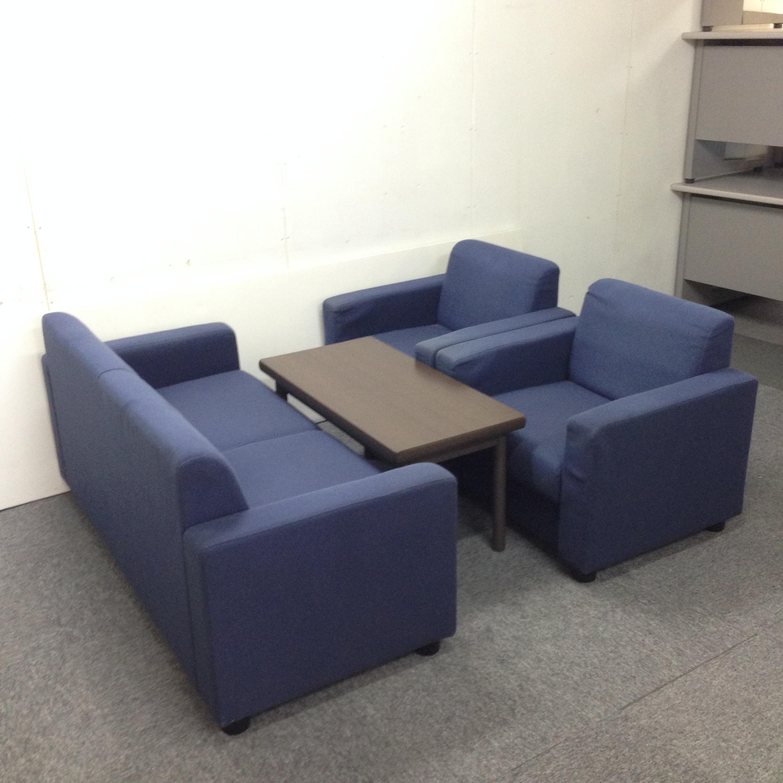 【応接セット一式】|スリムタイプ|2人かけソファ+(1人掛けソファ×2)+センターテーブル|応接スペースにどうぞ!