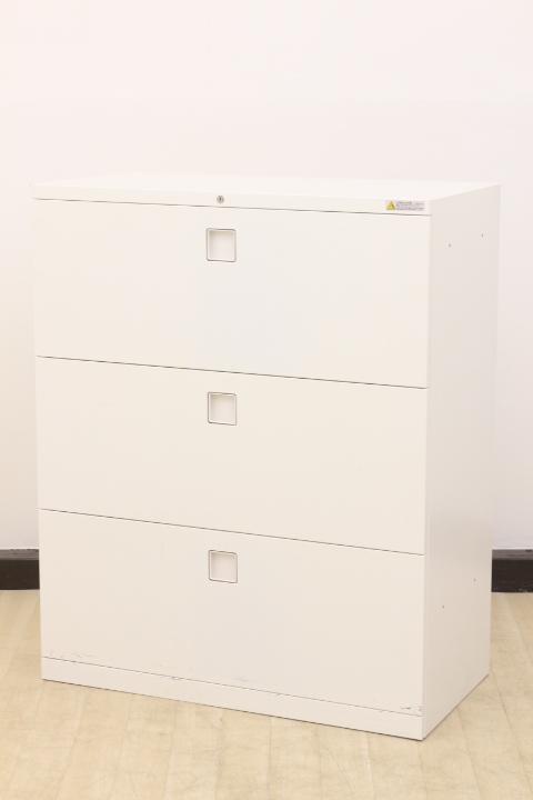 【人気の家具をどこよりも安く!!】清潔感溢れるホワイトの3段ラテラル書庫!!独自のハンドル形状で使いやすい!!