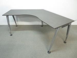 【エグゼクティブ空間にフィット!】■SAIBI(サイビ) 120°ブーメラン型テーブル グレインドダークブラウン【高級家具】