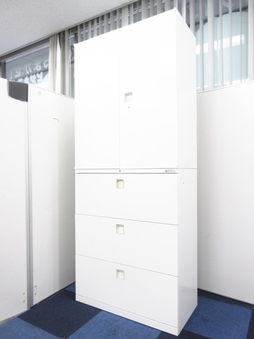 【新しいオフィスにオススメ!!】オカムラ大人気のレクトライン上下書庫セット!【ホワイト色で綺麗!】