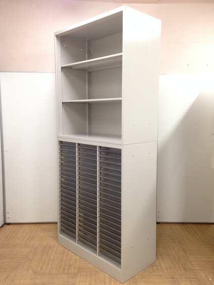 【在庫一掃セール】【トレーに一部ワレあり】【おつとめ品】オカムラ製・42型書庫セット 上置:オープン 置:クリスタルトレイ