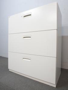 【ファイル書類をスッキリ整理!】■3段ラテラル書庫 ホワイト ■ライオン(LION)製 引き出し型キャビネット