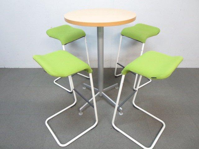 【コミュニケーションの活性化に!】■コクヨ製 丸型ハイテーブル&ハイチェア4脚セット