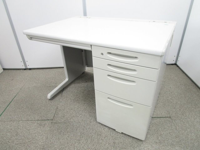 [小分け収納可能な4段引き出し]幅1000mm 事務机 片袖机 オカムラの定番オフィス家具