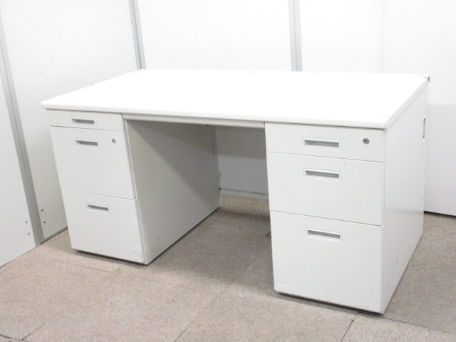 【上長用・管理職の方におすすめ!】書類収納には最適な両袖机!幅も1400mmでまとめも簡単!