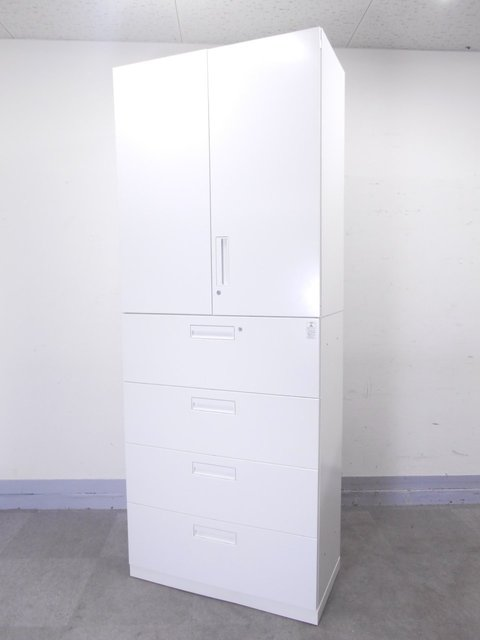 [オフィスの新スタンダード]上下書庫セット 上:両開き 下:4段ラテラル書庫 大容量の書類整理書棚です!