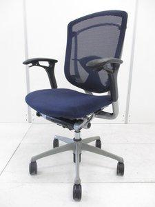 【【肘と座面に劣化が御座います!!】【ブルー】オカムラ製コンテッサ