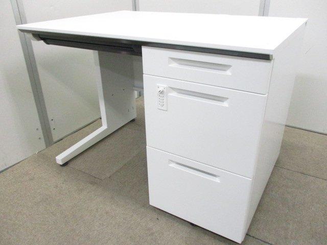 【美品です】【オフィスが明るくなるホワイトカラー】最新の鍵がダイアル式の片袖机