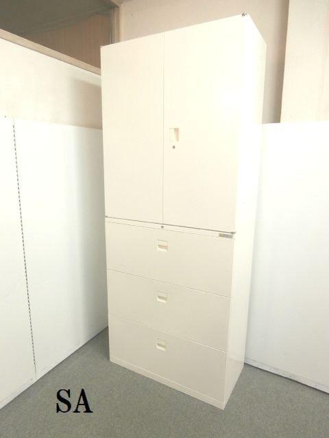 【オフィスを明るくし清潔感のあるホワイトカラーの両開き書庫と三段ラテラル書庫セットです!!】■国内メーカー