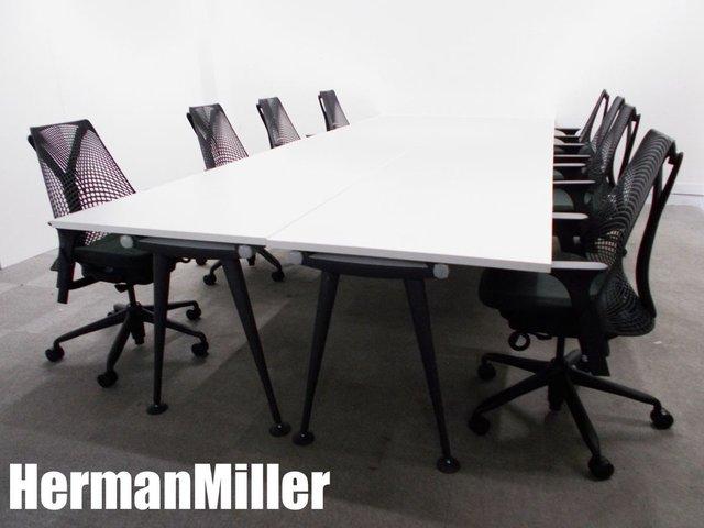 HermanMiller/ハーマンミラー アバック テーブル 4台 & セイルチェア 肘付8脚セット