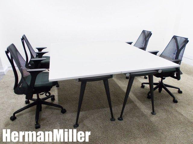 HermanMiller/ハーマンミラー アバック テーブル 2台 & セイルチェア 肘付4脚セット