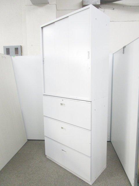 【レアな組み合わせの3枚引き戸+3段ラテラル!】清潔感あふれるホワイトカラーで入荷!オフィスに1台は欲しい書庫セット!