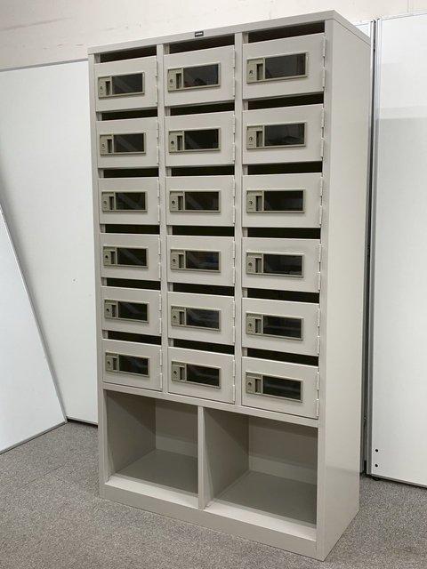 【無くなってしまう前に!】内田洋行製|メールボックス|18名様分+簡易収納スペース付き|鍵機能付き